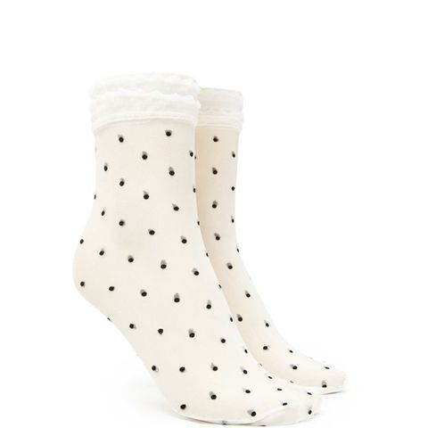 Sheer Polka Dot Crew Socks