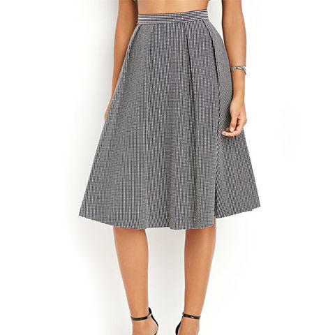 Contemporary Micro-Grid Pleated A-Line Skirt