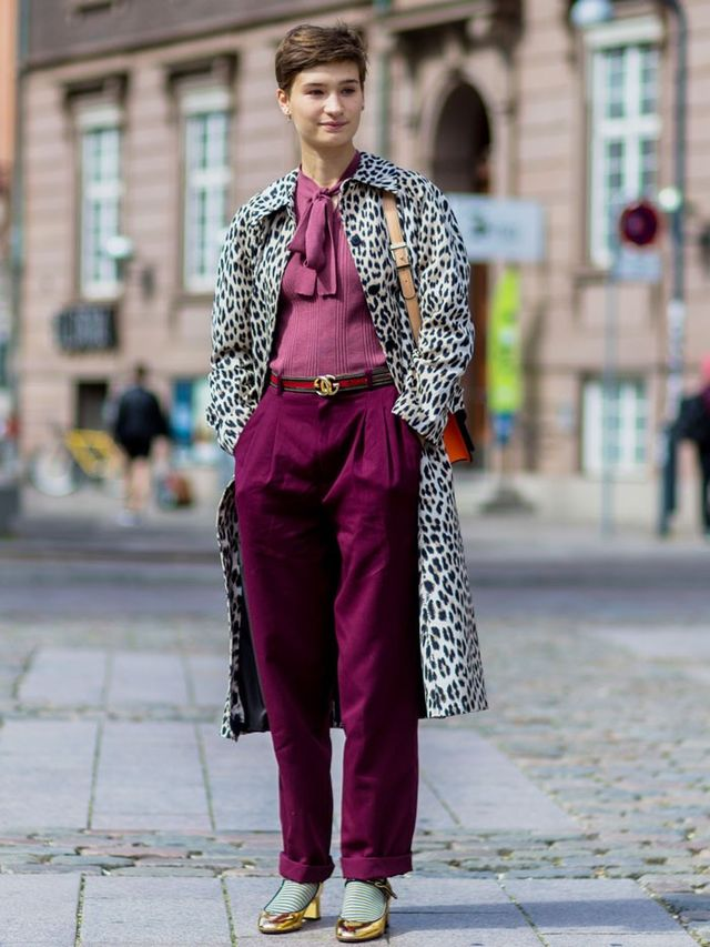 Team an Animal-Print Coat With Magenta Separates
