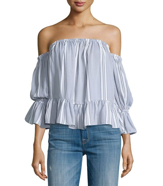 Misa Los Angeles Brigit Off-the-Shoulder Striped Top
