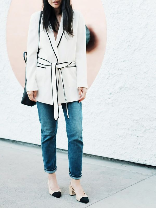 Tie-Waist Sweater + Jeans + Slingback Shoes