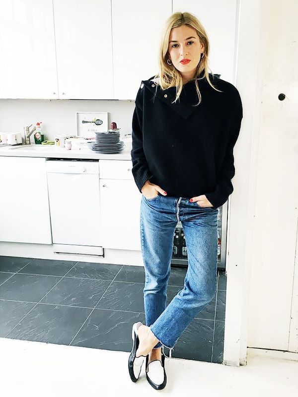 Chunky Sweater + Frayed-Hem Jeans + Loafers