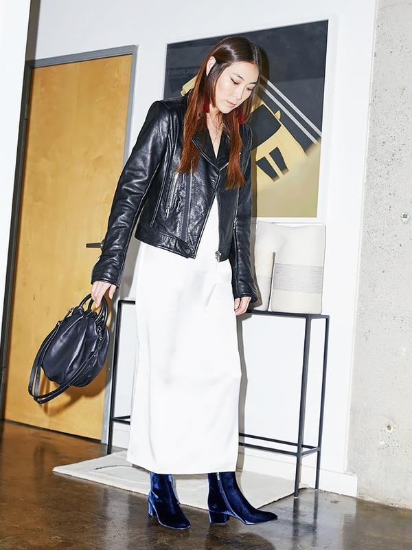 Leather Jacket + Slip Dress + Velvet Ankle Boots