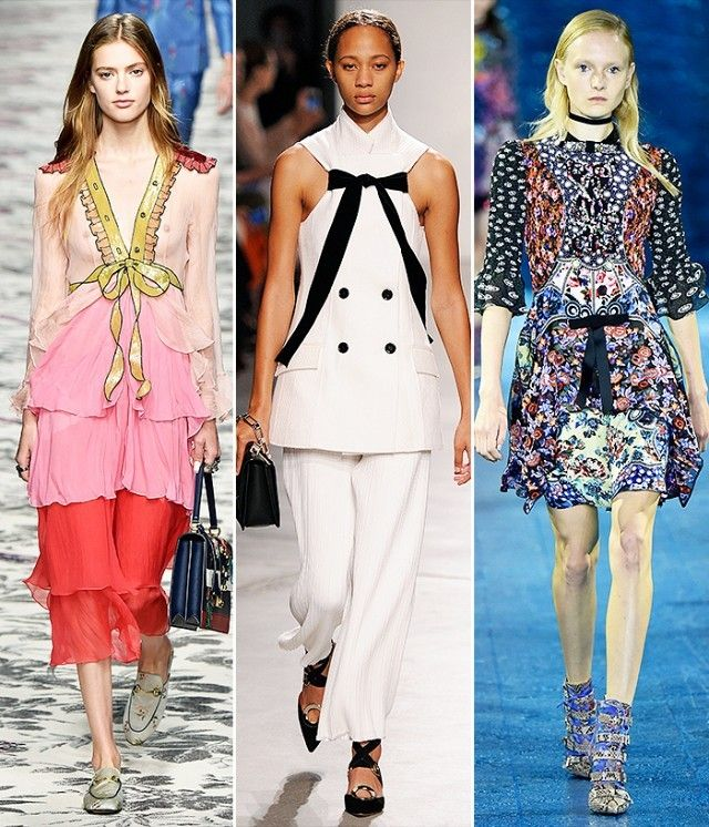 Runways from left to right: Gucci, Proenza Schouler, Mary Katrantzou.