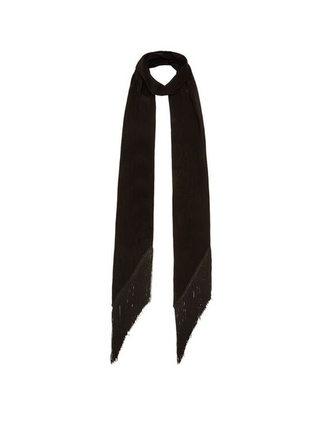 "Rockins ""Plain"" Classic Skinny Fringe Embroidered Scarf"