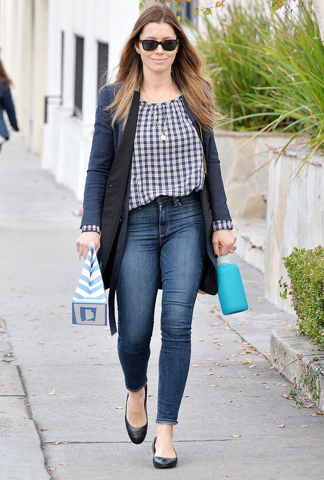 On Jessica Biel:Chanel flats.