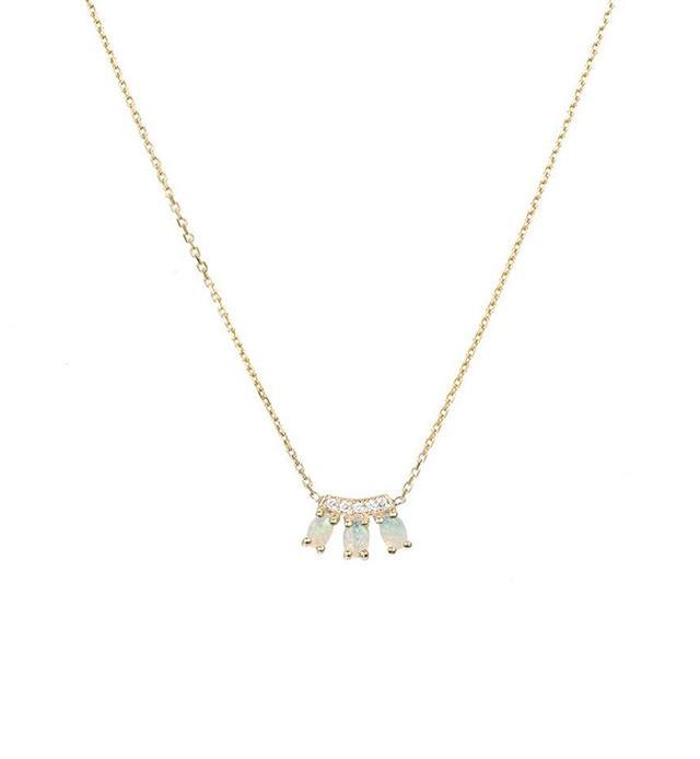 Jennie Kwon Diamond Opal Trio Necklace