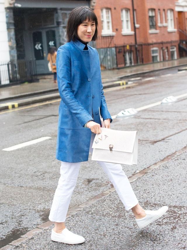 On Eva Chen: Koja Blue Leather Coat($2100).