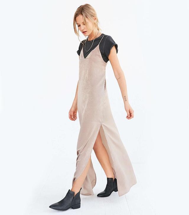 Silence + Noise Deep-V Satin Maxi Slip Dress