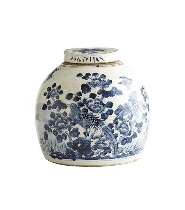 Wisteria Hand-Painted Chinese Lidded Jar