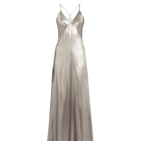 V-Neck Sleeveless Silk-Satin Gown