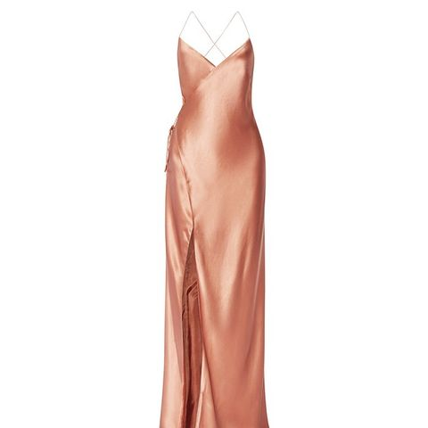 Silk-Satin Wrap Gown
