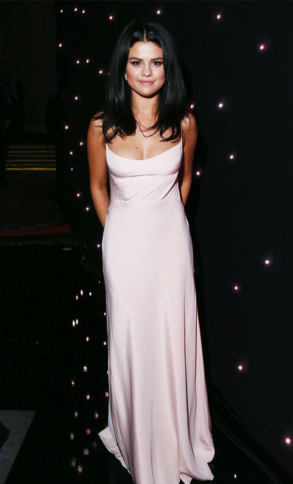 On Selena Gomez: Narciso Rodriguez dress.