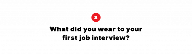 My first job interview was 20 years ago! I imagine it would have been black pants, black Clarks shoes and probably a white shirt… that's what 15 year old Julie would have worn!