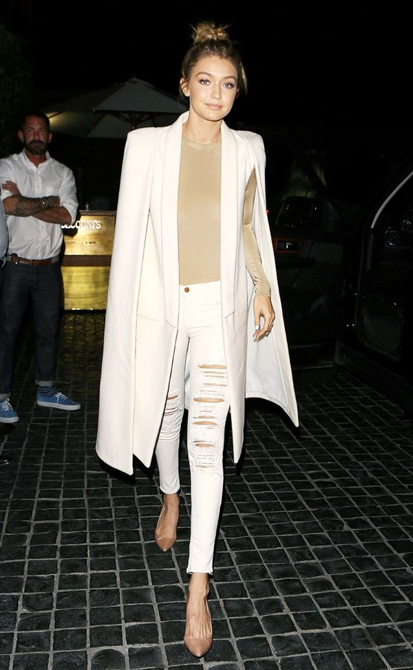 gigi hadid wearing bodysuit and white jeans