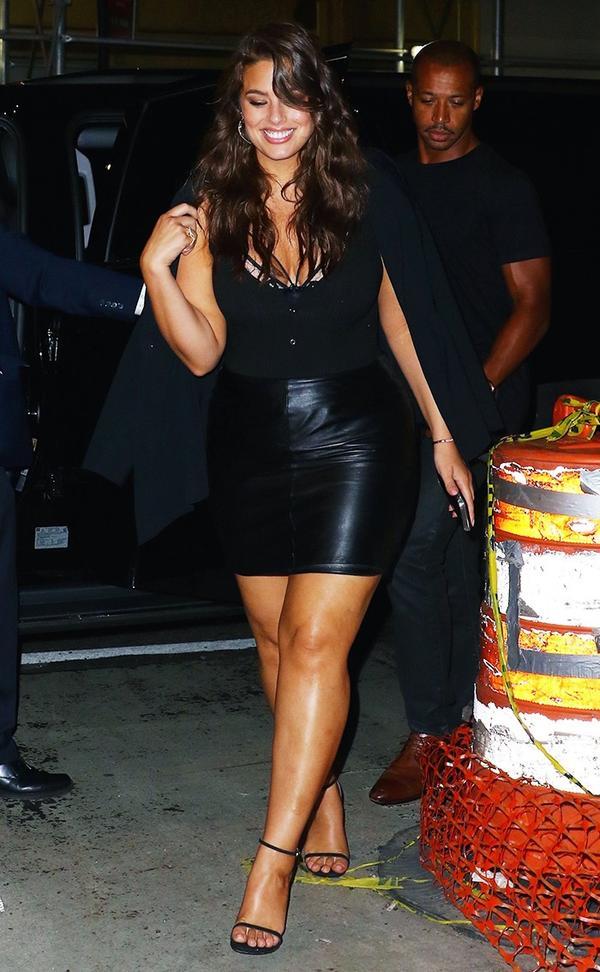 ashley graham wearing black bodysuit and skirt