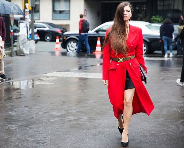 Break up a bold red dress with an interesting belt.