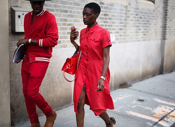 Accessorize a red shirtdress with a scarlet bag for twice the impact.