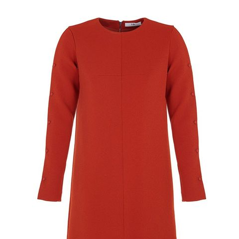 Structured Crepe Button Detail Dress