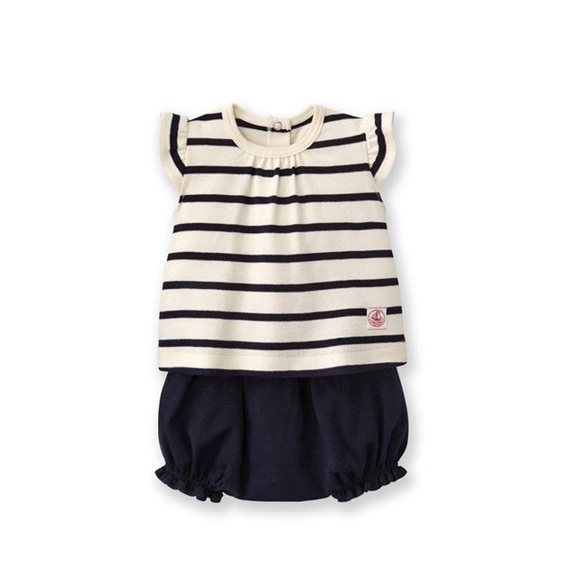 Petit Bateau Striped Top and Boomers