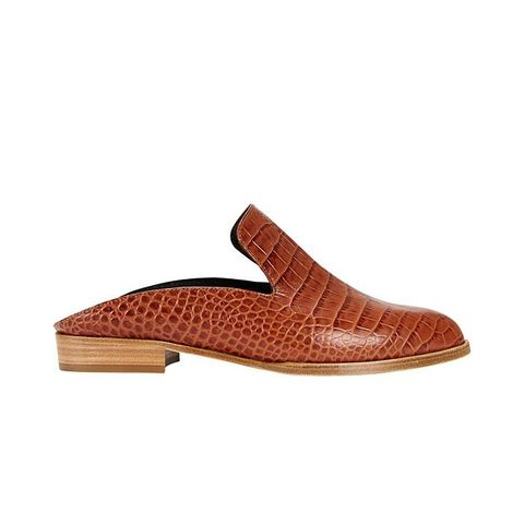 Alice Croc Embossed Slide Loafer in Brown