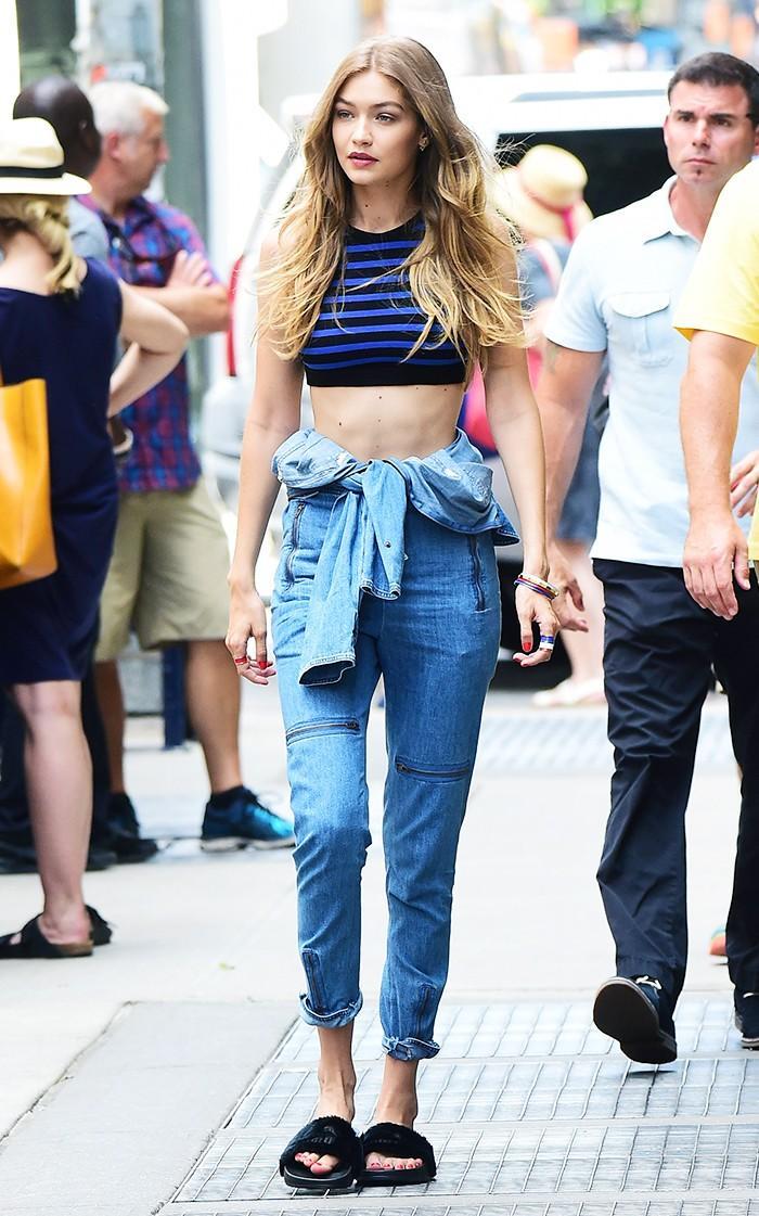 Gigi Hadid wearing Puma Slides in New York