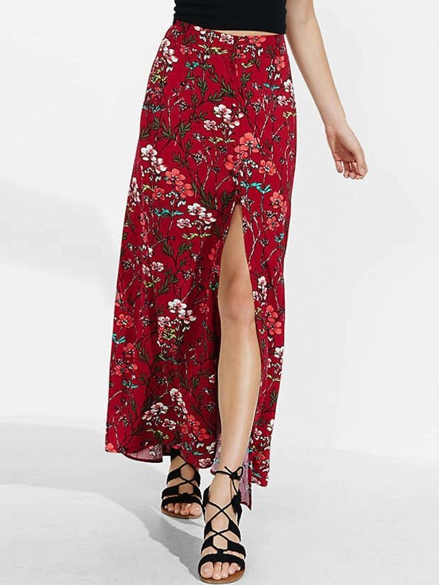Express Red Floral Button Front Maxi Skirt