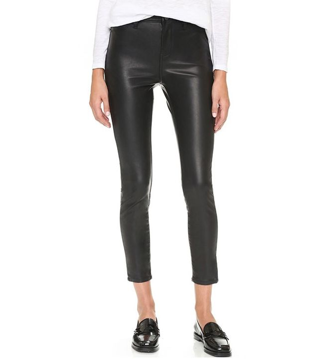 Black Denim The Principle Mid Rise Vegan Leather Skinny Pants