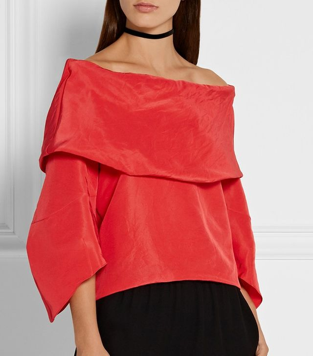 Rosie Assoulin Off-the-Shoulder Silk-Faille Top