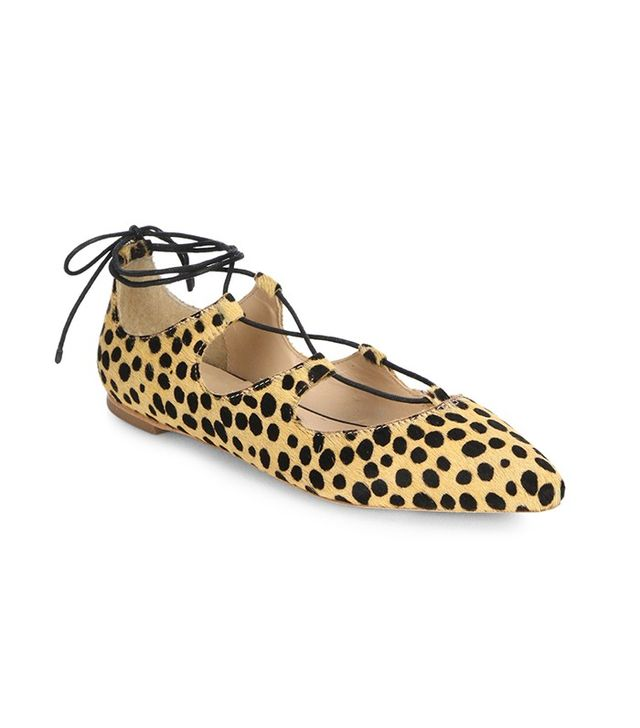 Loeffler Randall Ambra Lace-Up Cheetah-Print Calf Hair Flats