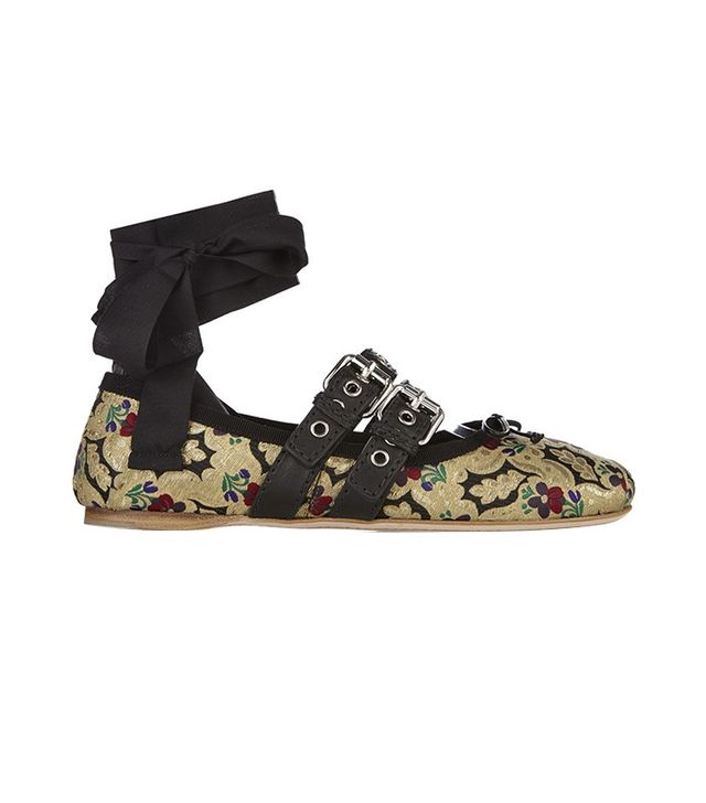 Miu Miu Brocade and Patent-Leather Ballerina Flats
