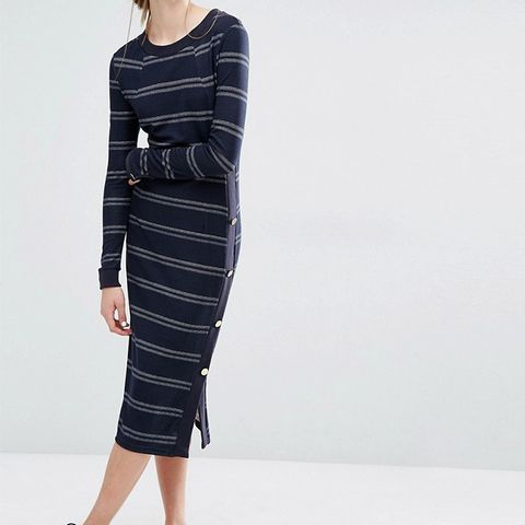 Jana Jersey Midi Dress in Stripe with Button Detail