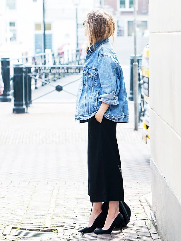Oversize Denim Jacket + Culottes + Pumps