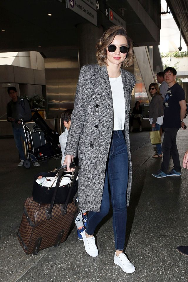 Celeb travel outfits featuring the four pieces: