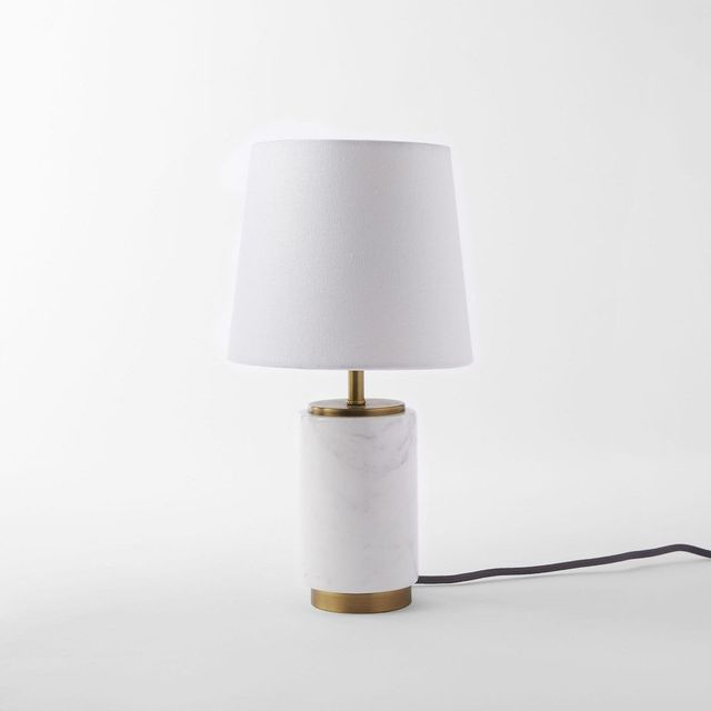 West Elm Small Pillar Table Lamp - Marble