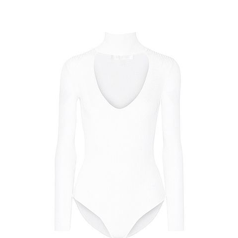 Cutout Ribbed-Knit Bodysuit
