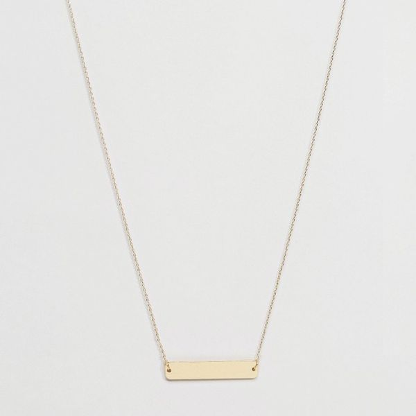 ASOS Brass Plated Smooth Bar Necklace