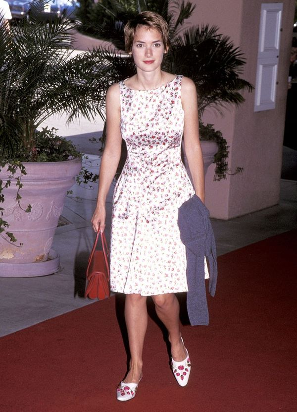 winona ryder wearing floral dress