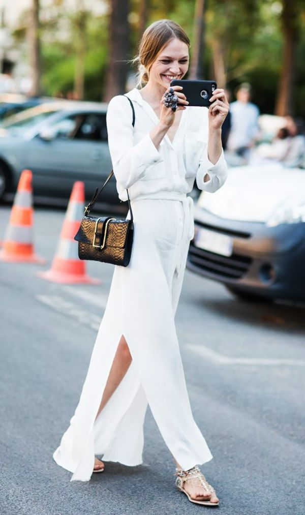 White maxi dress and flat sandals street style