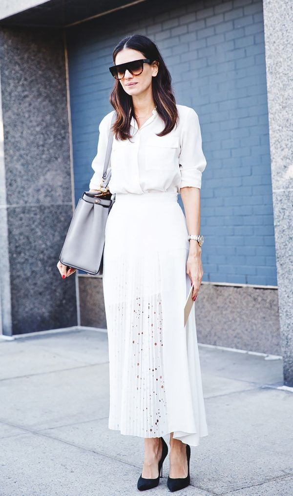 white midi skirt and button down street style