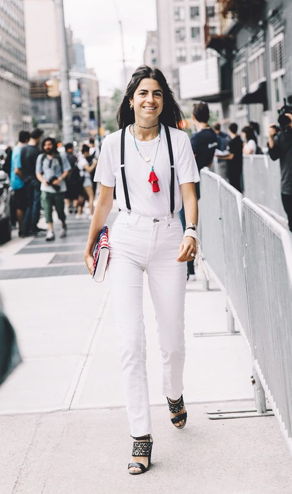 leandra medine street style white tee and jeans