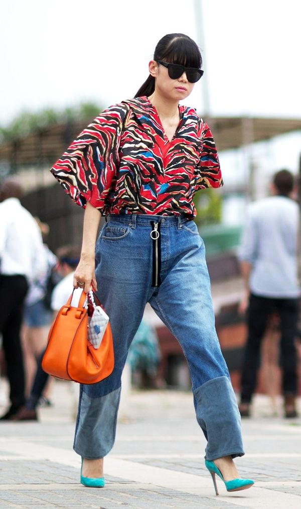 What to Wear Them With: Printed blouse and colorful heels.
