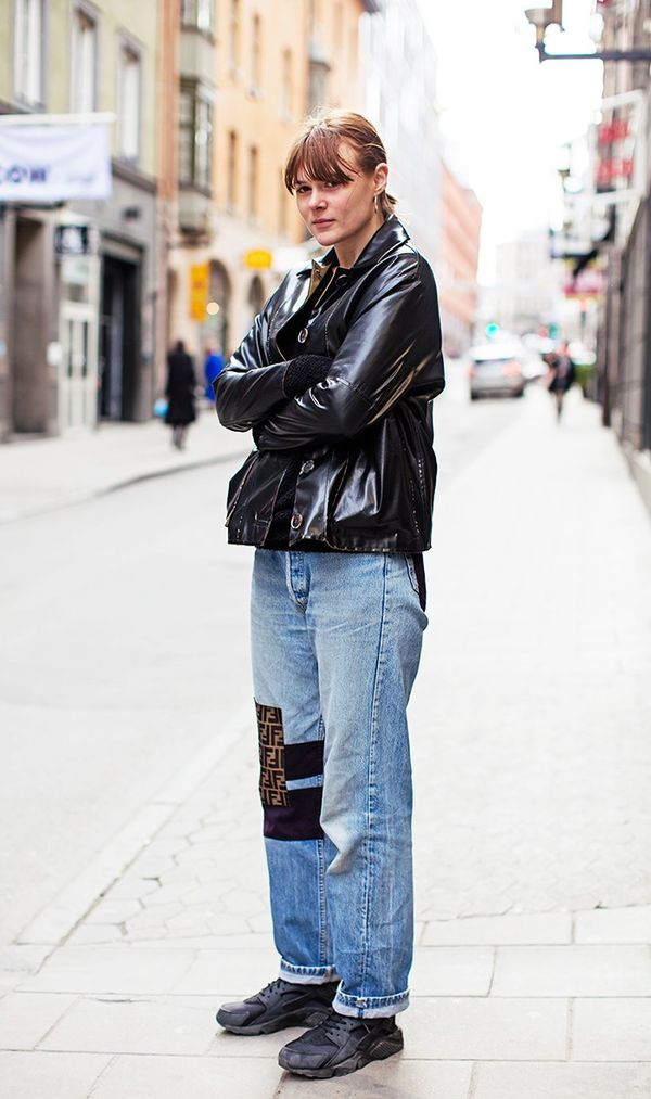 What to Wear Them With: Leather jacket and sneakers.