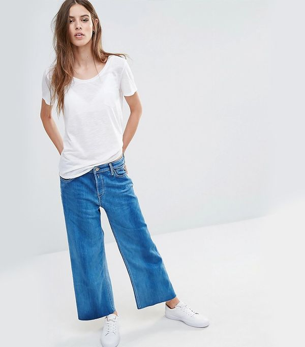 Replay Wide Leg Cropped High Rise Jeans