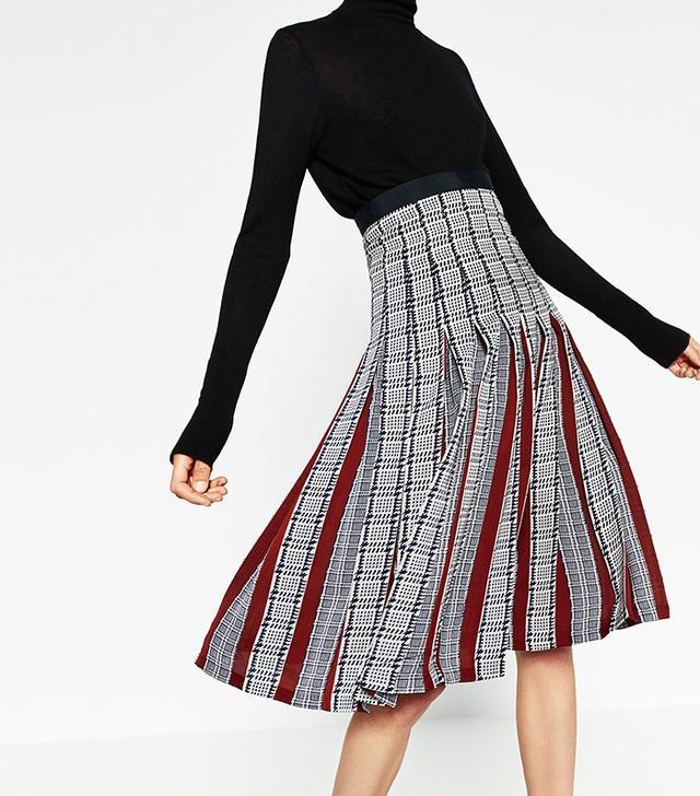 Zara Printed Accordion Pleated Mid Length Skirt