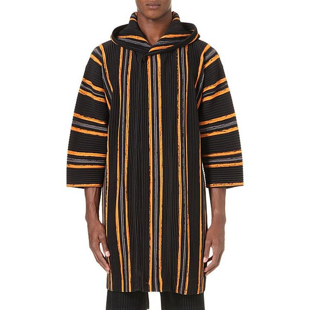 Homme Plissé Issey Miyake Striped Hooded Coat