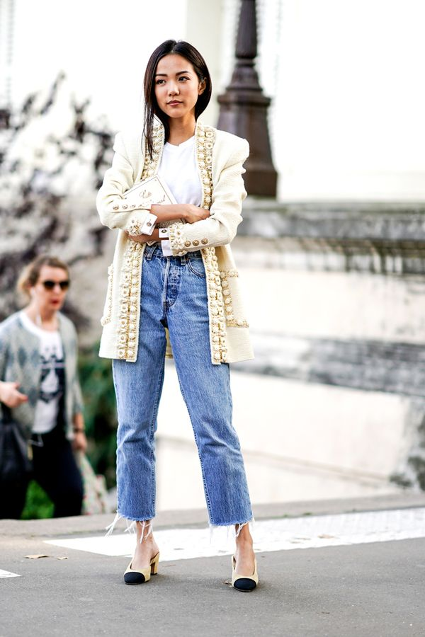 13 highwaisted jean outfits  whowhatwear uk
