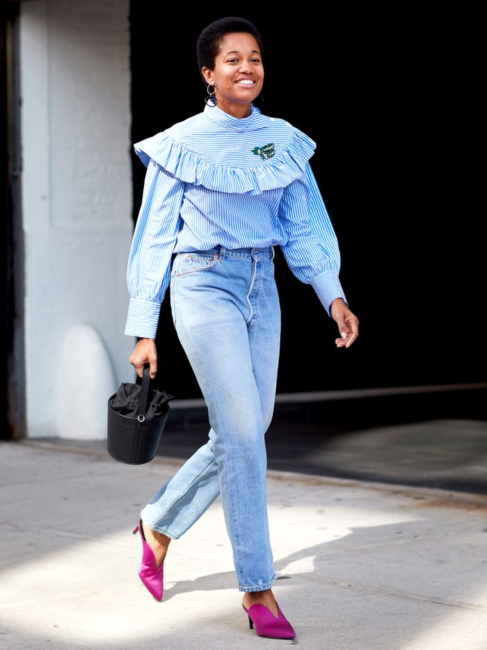 High-waisted jeans and blouse