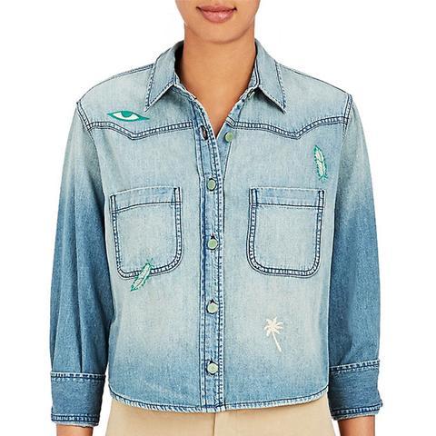 Embroidered Cotton Denim Shirt