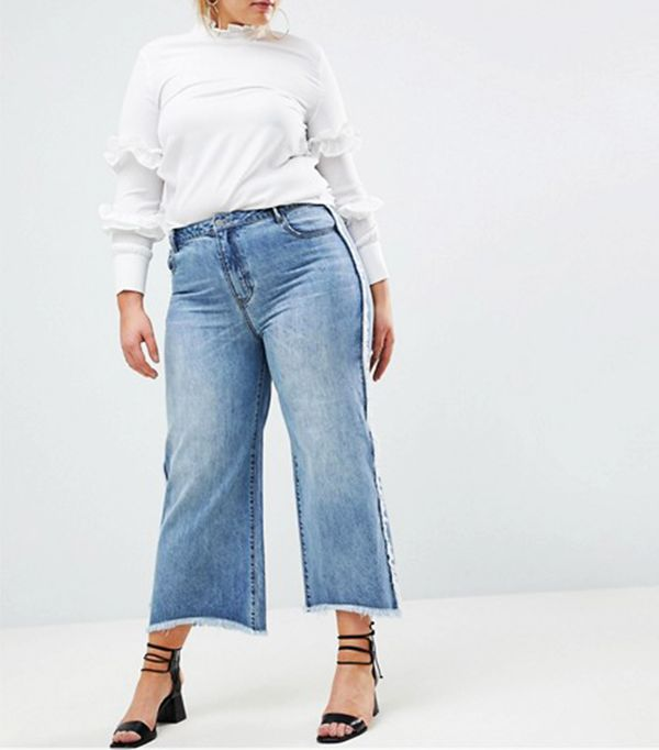 ASOS Current Air Wide Leg Jean With Raw Finish